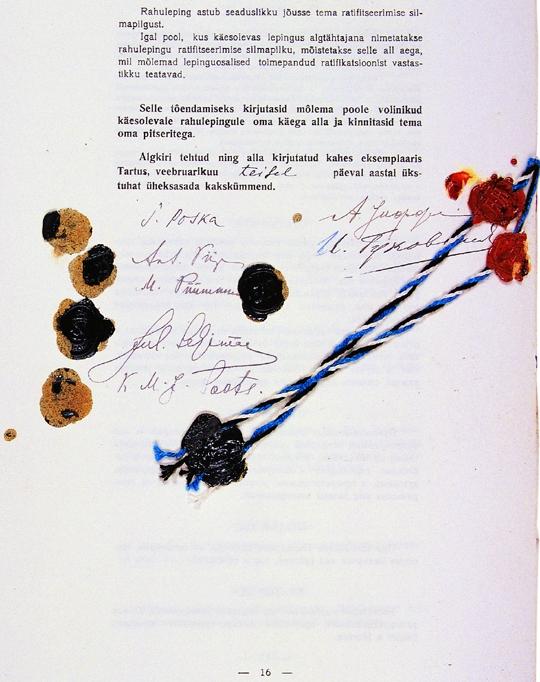 Le traité de paix de Tartu (dernière page)